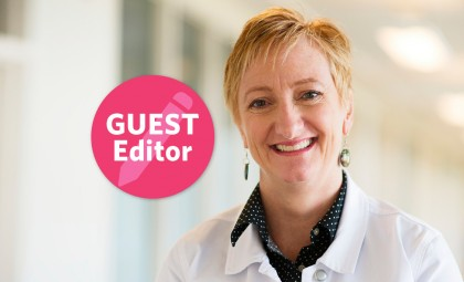 Headshot of Cynthia Davis with Guest Editor icon