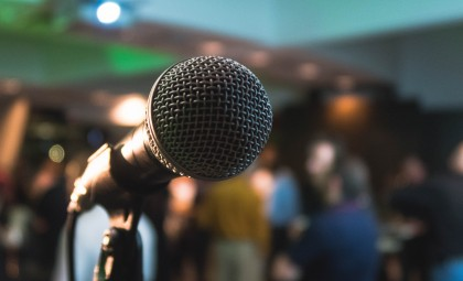 photo of a conference microphone